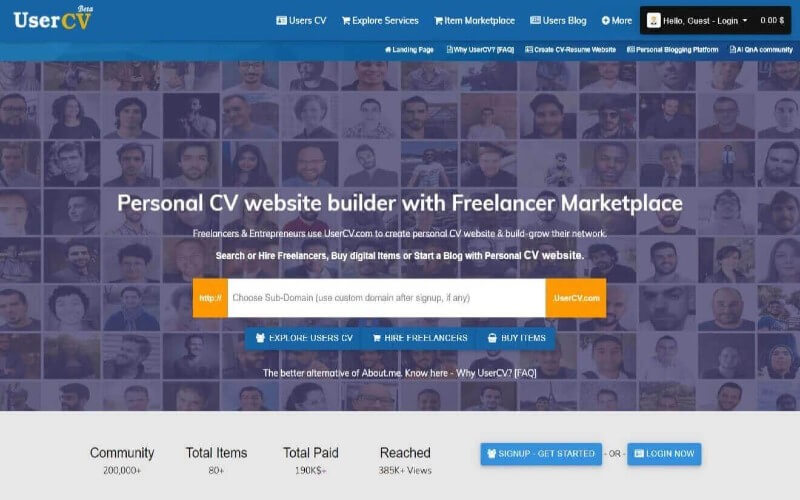 Freelancer Marketplace - Multi Domain Profile & Blog SAAS with Digital Store, Gig/Service Marketplace