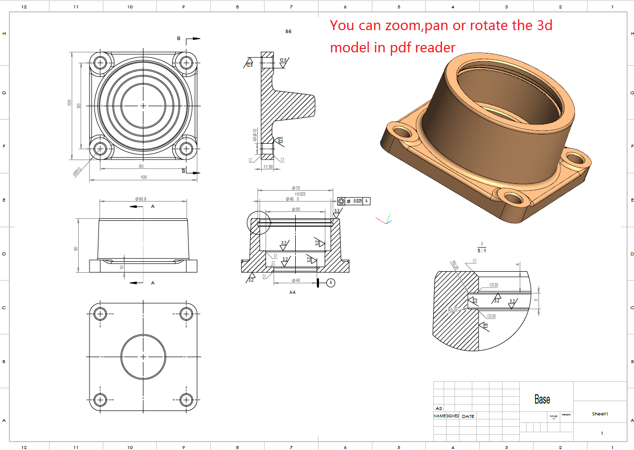 Mechanical production designing for CNC machining or 3d printing